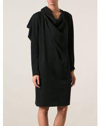 Lanvin Black Draped Dress - Lyst