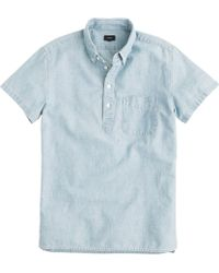 J.Crew Tall Short-Sleeve Japanese Chambray Popover Shirt - Lyst