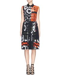 Preen Luna Geometric Check Pleat Silk Dress - Lyst