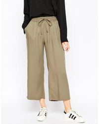 ASOS | Wide Leg Cropped Trousers | Lyst
