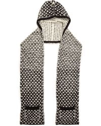 Alice + Olivia - Alice  Olivia Ombre Stitch Hooded Scarf with Pockets  Creamblack - Lyst