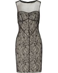 Halston Heritage Lace and Tulle Dress - Lyst