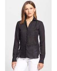 Halston Heritage Crepe Voile Shirt - Lyst