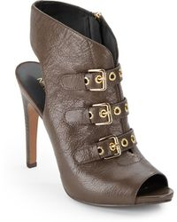 Nine West Mohawk Peep-Toe Leather Ankle Boots - Lyst