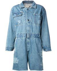 Sea Denim Shirt Playsuit blue - Lyst
