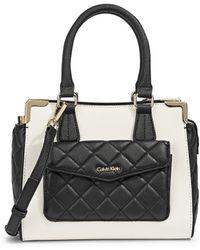 Calvin Klein Saffiano Leather Satchel Bag white - Lyst
