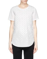 3.1 Phillip Lim Line Embroidery Silk Crepe Top - Lyst
