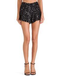 Joa Sequin Flared Shorts - Lyst