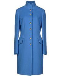 Versace Blue Coat - Lyst
