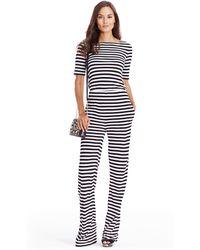 Diane von Furstenberg | Dvf Kendra Striped Open Back Jumpsuit | Lyst