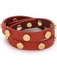Tory Burch Double Wrap Logo Stud Bracelet Poppy Orangeshiny Brass - Lyst