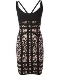 Hervé Léger Jacquard Pattern Bodycon Dress - Lyst