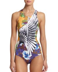 Clover Canyon One-Piece Zip-Detail Neoprene Swimsuit - Lyst