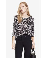 Express Textured Leopard Print Tunic Top - Lyst