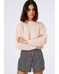 Missguided Grid Print High Waist Shorts Black - Lyst