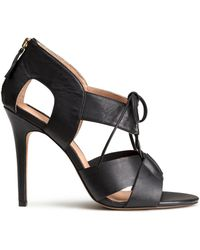 H&M Black Leather Sandals - Lyst