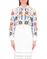 Alice + Olivia Embroidered And Embellished Cropped Silk Bomber Jacket - For Women - Lyst