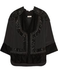 Emilio Pucci Leather-trimmed Embellished Satin Top - Lyst