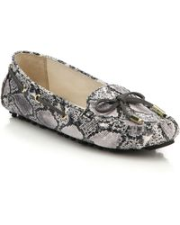 Cole Haan Cary Snake-Embossed Leather Drivers animal - Lyst