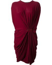 Lanvin Pin Draped Dress - Lyst
