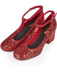 Topshop Jazz Glitter Mid Shoes  Red - Lyst