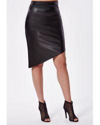 Missguided Plus Size Asymmetric Hem Pu Midi Skirt - Lyst
