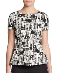 Boss by Hugo Boss Iparela Graphic Peplum Top - Lyst