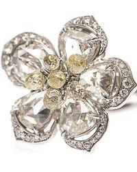 NSR Nina Runsdorf - Diamond & Yellow-Gold Flower Ring - Lyst