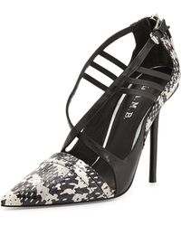 L.A.M.B. Boston Strappy Snakeskin Pump - Lyst