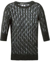 Ermanno Scervino Crochet Knit Short Sleeve Sweater - Lyst
