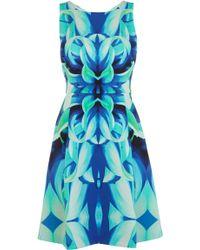 Karen Millen Bold Floral Print Sculpted Jersey Dress - Lyst