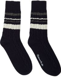 Undercover Navy Striped Cableknit Socks - Lyst