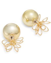Punch - Front-to-back Wire Flower & Sphere Earrings/goldtone - Lyst