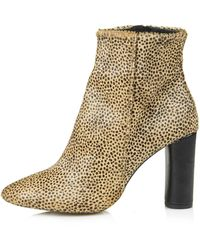 Topshop Magnum Leopard Heeled Boots - Lyst