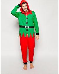 Asos Holidays Elf Onesie - Lyst