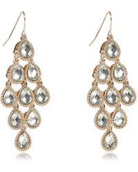 River Island Gold Tone Diamante Teardrop Dangle Earrings - Lyst