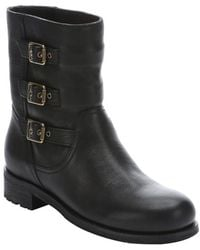 Jimmy Choo Black Leather 'Dancy' Buckle Detail Biker Boots - Lyst