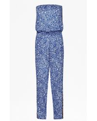 French Connection Bali Border Strapless Jumpsuit blue - Lyst
