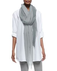 Donna Karan New York Fringed Woven Silk-blend Scarf - Lyst
