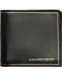 Alexander McQueen Black Metallic Accent Bifold Wallet - Lyst