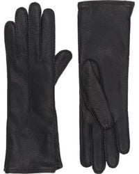 Barneys New York Black Gusseted Gloves - Lyst