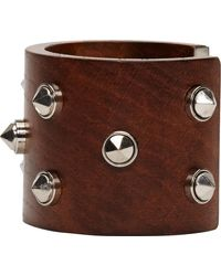 Alexander McQueen Brown Wood and Stud Cuff - Lyst