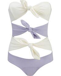 Lisa Marie Fernandez Triple Poppy Bow-Embellished Swimsuit - Lyst