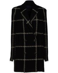 Blue Les Copains Black Coat - Lyst