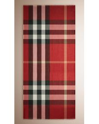 Burberry | Check Modal Cashmere And Silk Scarf | Lyst