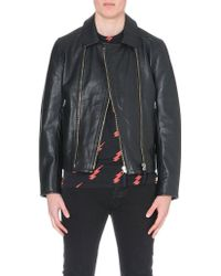 Paul Smith Double Zip Leather Biker Jacket - For Men - Lyst