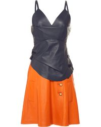 J.W. Anderson Navy and Orange Spaghetti Strap Layered Dress - Lyst