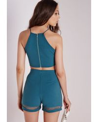Missguided - Ladder Front Crop Top Teal - Lyst