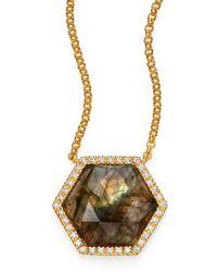 Mija   Labradorite & White Sapphire Hexagon Pendant Necklace   Lyst