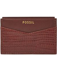 Fossil Francis Embossed Leather Card Case - Lyst